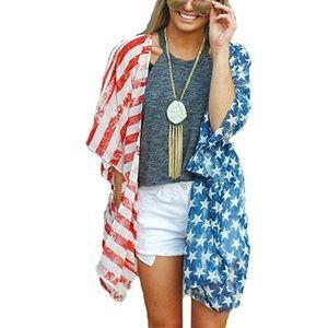 NEW American Flag Print Kimino Cover Up